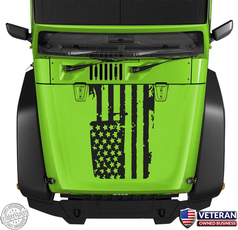 Distressed American Flag Hood Blackout Vinyl Decal