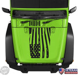 Distressed Wavy American Flag Hood Blackout Vinyl Decal