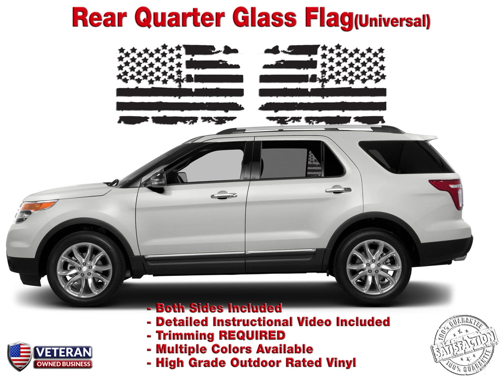 Us Flag Vinyl Decal Universal Fit Rear Quarter Window