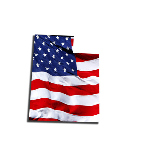 Utah Waving USA American Flag. Patriotic Vinyl Sticker