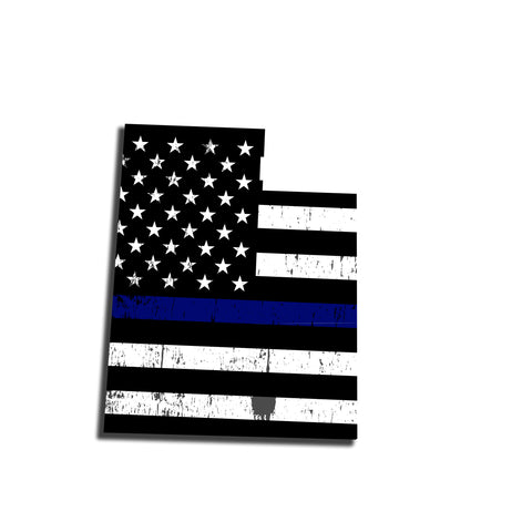 Utah Distressed Subdued US Flag Thin Blue Line/Thin Red Line/Thin Green Line Sticker. Support Police/Firefighters/Military