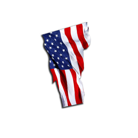 Vermont Waving USA American Flag. Patriotic Vinyl Sticker
