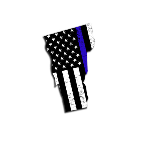 Vermont Distressed Subdued US Flag Thin Blue Line/Thin Red Line/Thin Green Line Sticker. Support Police/Firefighters/Military