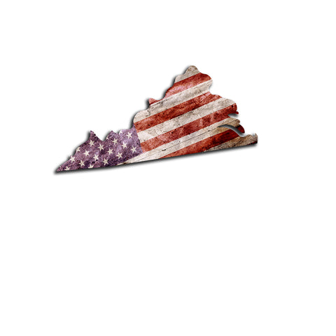 Virginia Distressed Tattered Subdued USA American Flag Vinyl Sticker