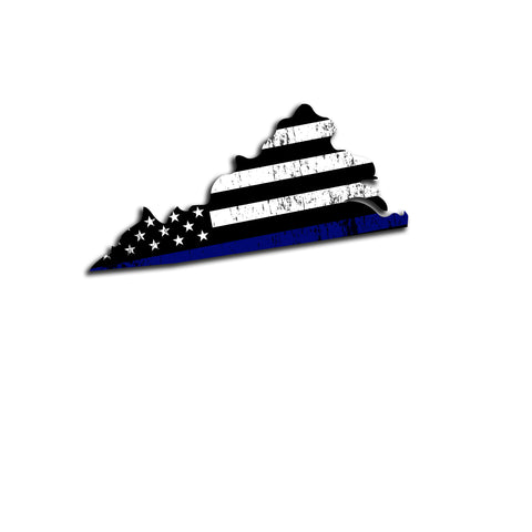 Virginia Distressed Subdued US Flag Thin Blue Line/Thin Red Line/Thin Green Line Sticker. Support Police/Firefighters/Military