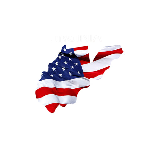 West Virginia Waving USA American Flag. Patriotic Vinyl Sticker