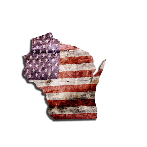 Wisconsin Distressed Tattered Subdued USA American Flag Vinyl Sticker
