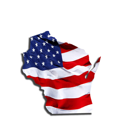 Wisconsin Waving USA American Flag. Patriotic Vinyl Sticker