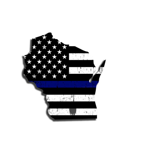 Wisconsin Distressed Subdued US Flag Thin Blue Line/Thin Red Line/Thin Green Line Sticker. Support Police/Firefighters/Military