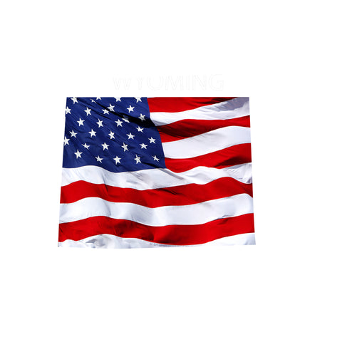 Wyoming Waving USA American Flag. Patriotic Vinyl Sticker