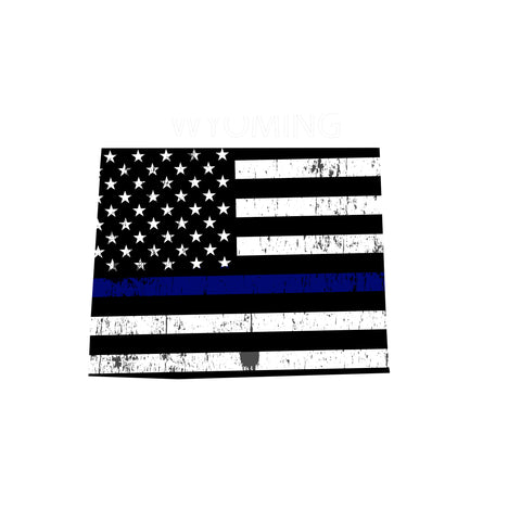 Wyoming Distressed Subdued US Flag Thin Blue Line/Thin Red Line/Thin Green Line Sticker. Support Police/Firefighters/Military