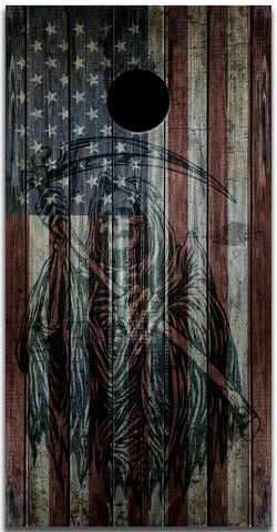 2x American Flag Grim Reaper  Cornhole Board Bag Toss Vinyl Wrap Set- Universal Fit Oracal 3M