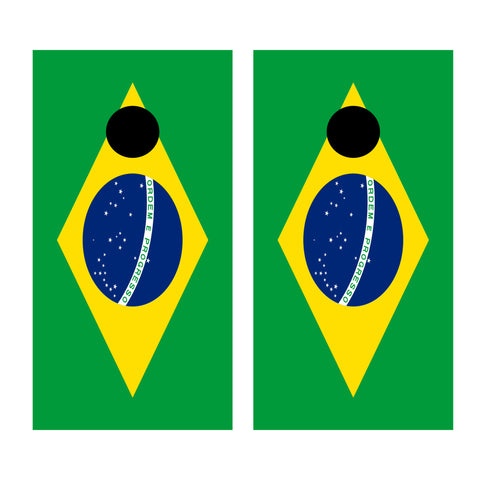 2 x Cornhole Board Bag Toss Vinyl Wrap Set-Brazilian Flag Universal Fit Oracal 3M