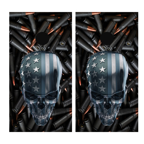 Bullets and Skull Cornhole Board Wrap Vinyl
