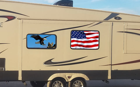 Waving American Flag Universal RV Camper or 5th Wheel Window 50/50 Perforated Vinyl Decal