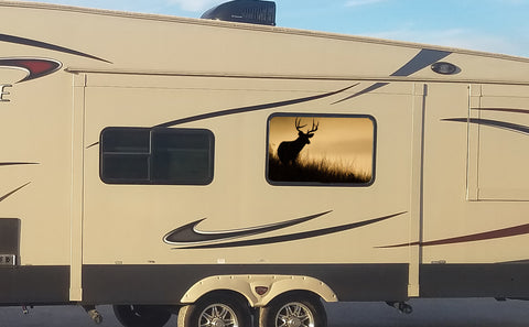 Deer Hunter at Sunset Universal RV Camper or 5th Wheel Window 50/50 Perforated Vinyl Decal