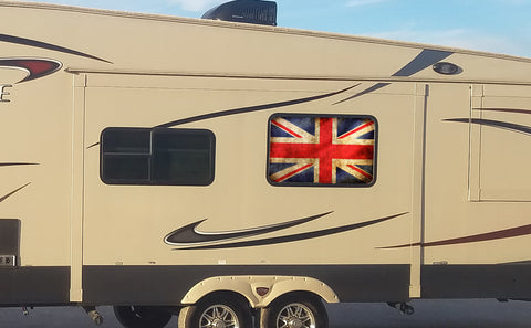 Union Jack Flag Universal RV Camper or 5th Wheel Window 50/50 Perforated Vinyl Decal