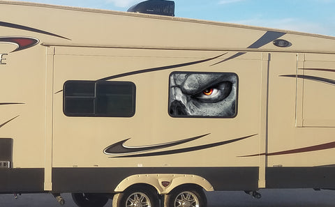 Evil Eye Universal RV Camper or 5th Wheel Window 50/50 Perforated Vinyl Decal