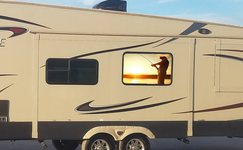 Gone Fishing Universal RV Camper or 5th Wheel Window 50/50 Perforated Vinyl Decal