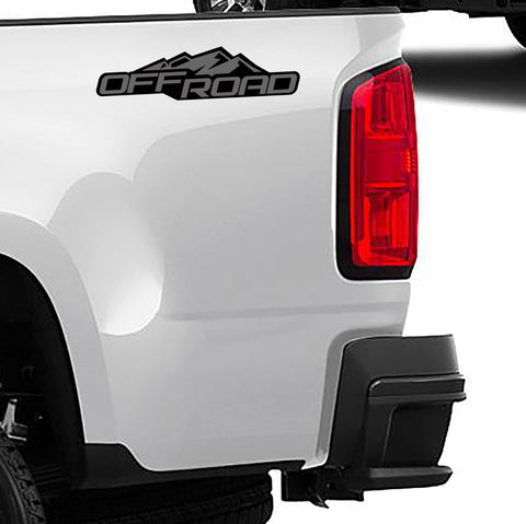 2 Color 4x4 Off Road Bedside Vinyl Decals Fits 2004-2012 Chevy Colorado