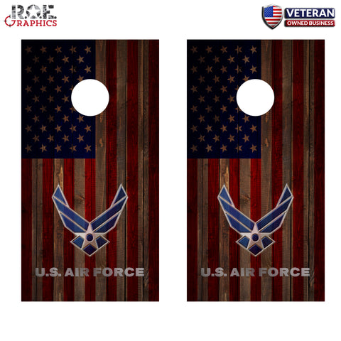 2x U.S. Air Force Cornhole Board Bag Toss Vinyl Wrap Set-Universal Fit Military