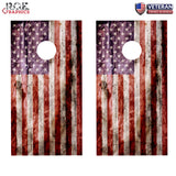 2 x Distressed American Flag Cornhole Board Bag Toss Vinyl Wrap Set- Universal Fit Oracal 3M