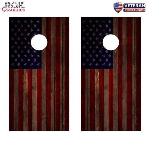 2x American Flag Wood Look Cornhole Board Bag Toss Vinyl Wrap Set-Universal Fit