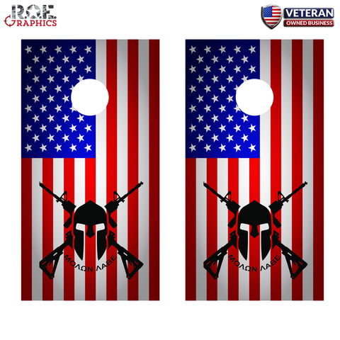 2x Molan Labe bright Cornhole Board Bag Toss Vinyl Wrap Set-Universal Fit Come and Take