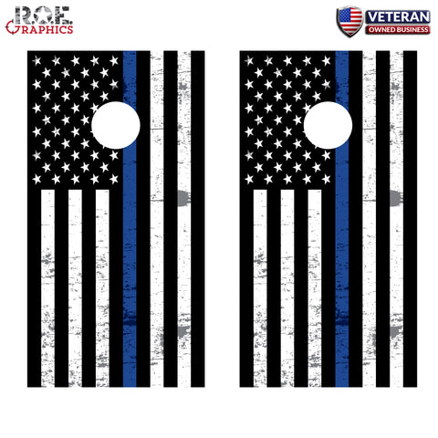 2 x Cornhole Board Bag Toss Vinyl Wrap Set-Thin Blue Line Flag Universal Fit