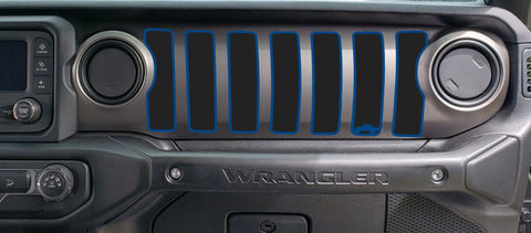 2 Color Cutout Dash grill decal Fits: 2018 & up Jeep Wrangler JL JT Gladiator