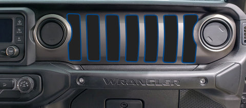 Dash grill decal Fits: 2018 & up Jeep Wrangler JL JT Sport MOAB Sahara Altitudes