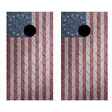 2 x Cornhole Board Bag Toss Vinyl Wrap Set-Diamond Plate Betsy Ross Flag Universal Fit Oracal 3M