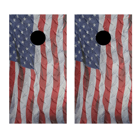 2 x Cornhole Board Bag Toss Vinyl Wrap Set-Diamond Plate American Flag Waving Universal Fit Oracal 3M