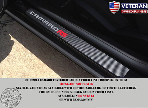 Camaro door sill carbon fiber vinyl racing decal kick plate RS SS LT LS 5th Gen
