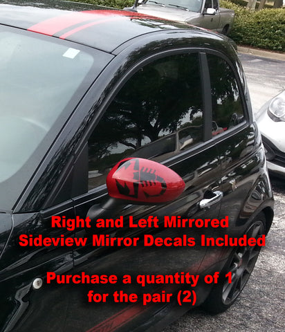 "FIAT 500 Abarth 6.5"" Scorpion Side Mirror Vinyl Decal Pair - Includes 2 Decals"