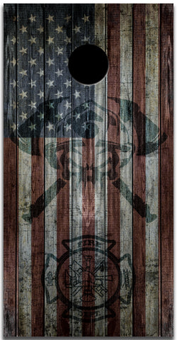2x Firefighter Helmet Distressed American Flag Cornhole Board Bag Toss Vinyl Wrap Set- Universal Fit Oracal 3M