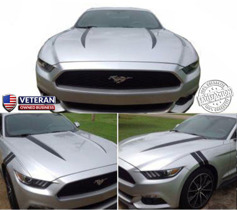 2015 & UP FORD MUSTANG COWL HOOD SPEARS STRIPES VINYL GRAPHICS 5.0L GT COYOTE