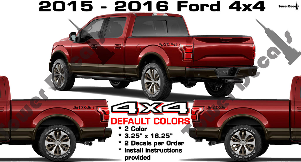 4x4 BED SIDE VINYL DECAL 2 color STICKER FOR FORD F150 ...