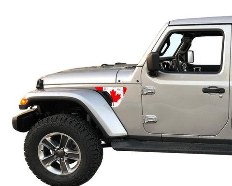 Canadian Flag Fender Vent Inlays Fits: 2018 & up Jeep Wrangler JL JT Sport MOAB