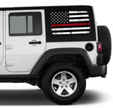 Universal Thin Red Line American Flag Window Tint Perforated Vinyl Fits: Jeep 2/4 Door Hard Top