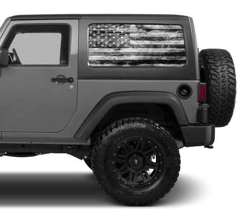 Universal American Flag Black & White Window Tint Perforated Vinyl Fits: Jeep 2/4 Door Hard Top