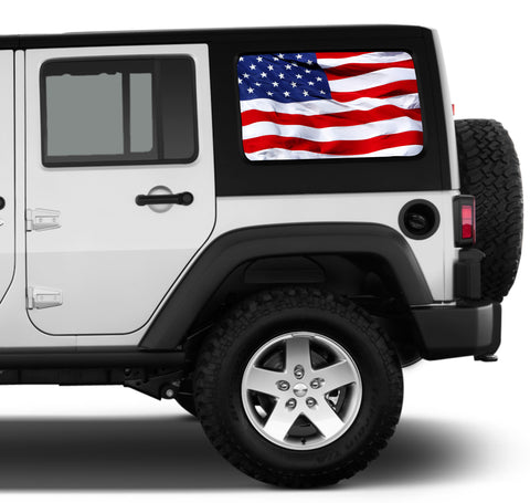 Universal American Flag Waving Window Tint Perforated Vinyl Fits: Jeep 2/4 Door Hard Top