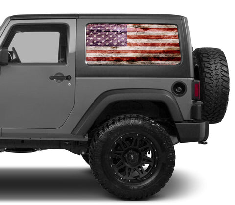 Universal Distressed American Flag Window Tint Perforated Vinyl Fits: Jeep 2/4 Door Hard Top