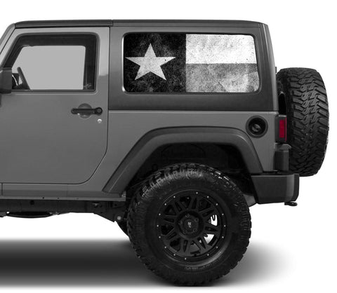 Universal Texas Flag Black & White Window Tint Perforated Vinyl Fits: Jeep 2/4 Door Hard Top