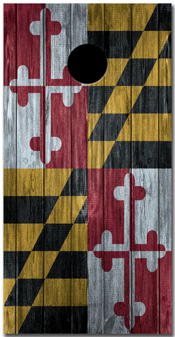 2x Maryland Flag Distressed Wood Cornhole Board Bag Toss Vinyl Wrap Set- Universal Fit Oracal 3M