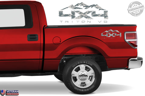 4X4 TRITON V8 MOUNTAIN Bedside Digi Decal Fit Ford 2008-2017 F150-250 SUPER DUTY