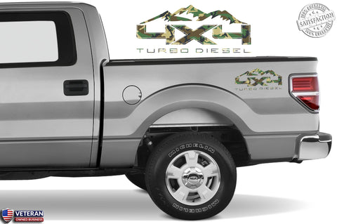4X4 TURBO DIESEL MTN Bedside Forest Decal Fit Ford 2008-2017 F150-250 SUPER DUTY