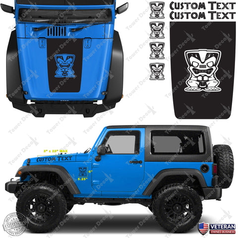Hood blackout tiki custom vinyl decals stickers kit fits jeep wrangler jk tj lj
