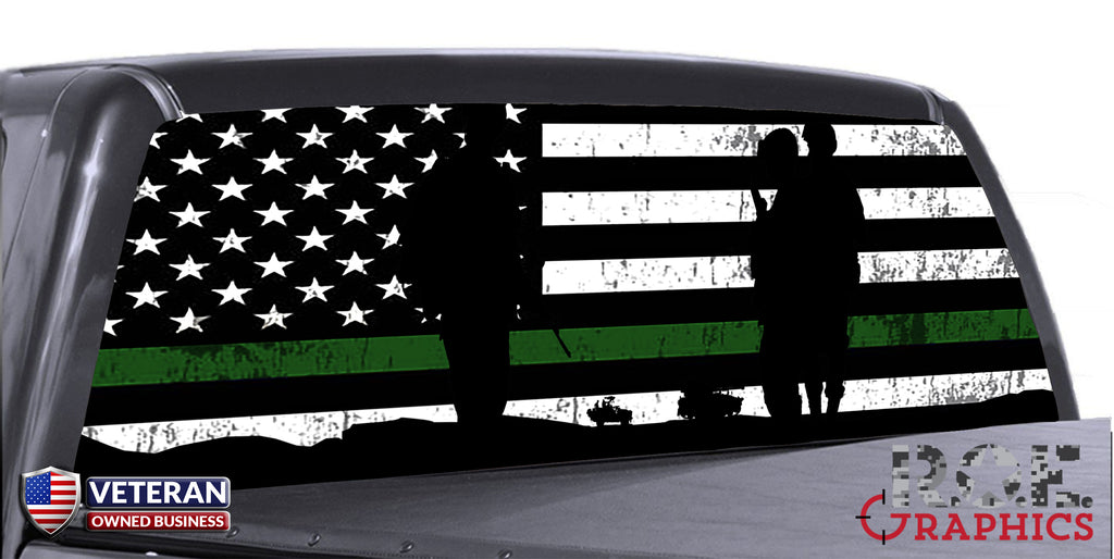 Military Thin Green Line Flag Universal Truck Rear Window