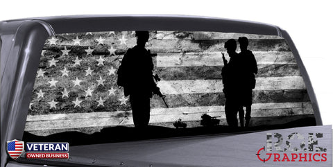 Military Army Marine B/W Flag Universal Truck Rear Window 50/50 Perforated Vinyl